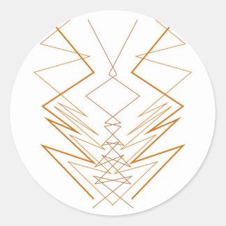 Design elements zig zag on white classic round sticker