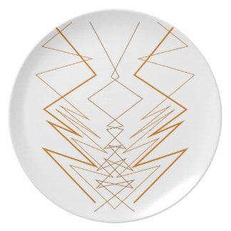 Design elements zig zag on white plate