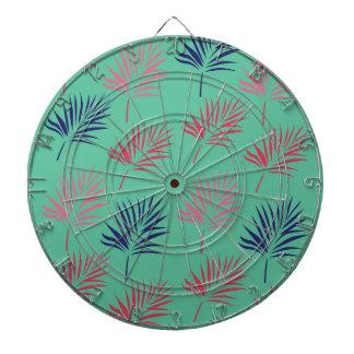 Design exotic leaves on blue dartboard