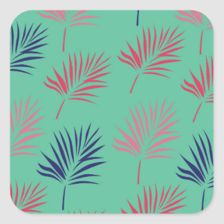 Design exotic leaves on blue square sticker