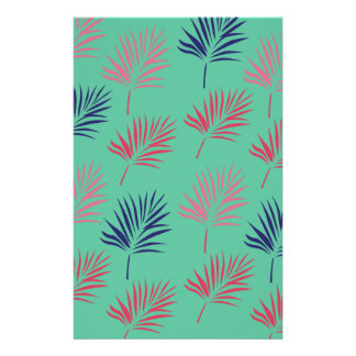 Design exotic leaves on blue stationery