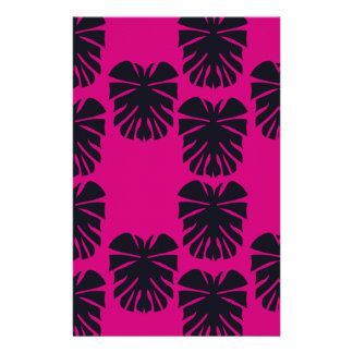 Design exotic leaves on pink stationery