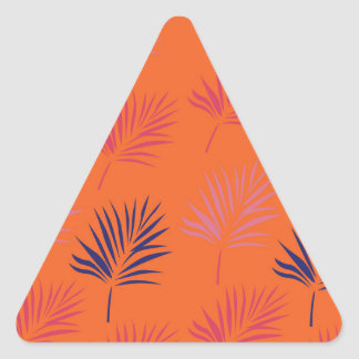 Design exotic leaves Orange Triangle Sticker