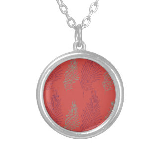 DESIGN EXOTIC PALMS BEIGE SILVER PLATED NECKLACE