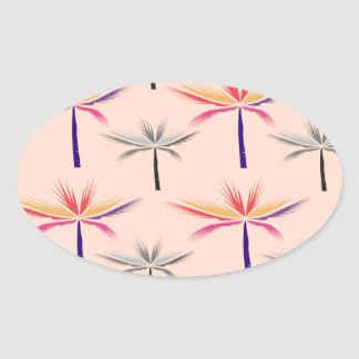 Design exotic Palms on Beige Oval Sticker