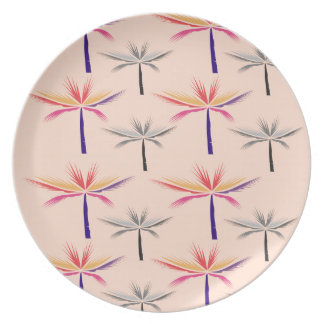 Design exotic Palms on Beige Plate