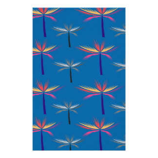Design exotic Palms on blue Stationery