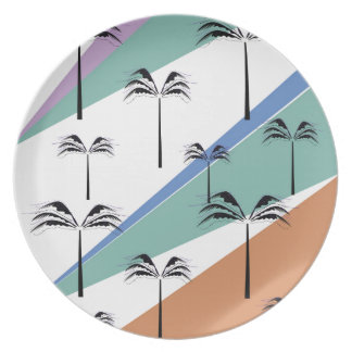Design exotic palms with Diagonal lines Plate