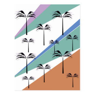 Design exotic palms with Diagonal lines Postcard