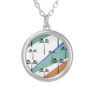 Design exotic palms with Diagonal lines Silver Plated Necklace