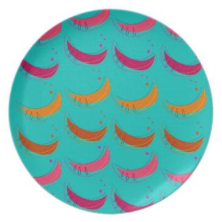 Design exotic slices Bananas Blue Plate