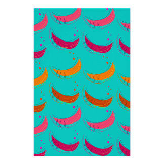 Design exotic slices Bananas Blue Stationery
