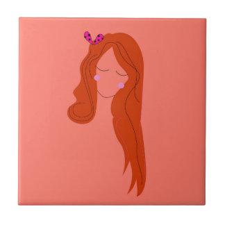 Design  fashion girl on pink tile