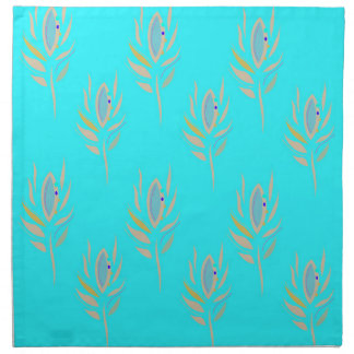 Design  Feathers on Blue Napkin