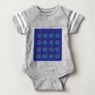 Design  flowers blue baby bodysuit