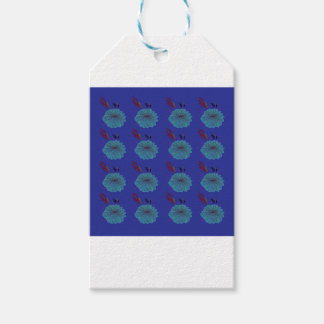 Design  flowers blue gift tags