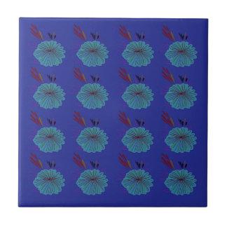 Design  flowers blue tile