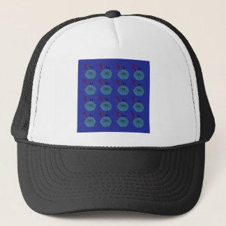 Design  flowers blue trucker hat