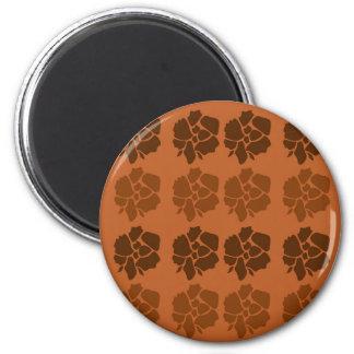 Design  flowers ethno brown magnet