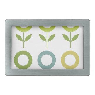 Design  flowers green on white belt buckle