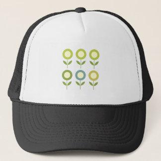 Design  flowers green on white trucker hat