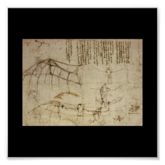 Design for a Flying Machine by Leonardo Da Vinci Poster