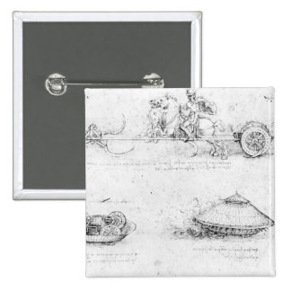 Design for a scythed chariot and armoured car 2 inch square button