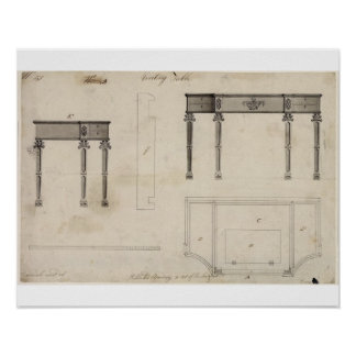 Design for a Writing Table (pen and ink with grey Print