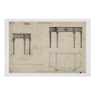 Design for a Writing Table (pen and ink with grey Poster