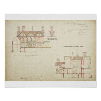 Design for Joldwyns, Surrey, 1872 (pen & ink and w Poster