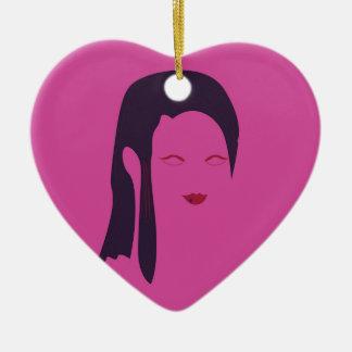 Design geisha Ethnic pink Ceramic Ornament