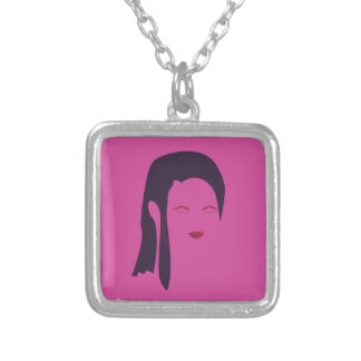 Design geisha Ethnic pink Silver Plated Necklace