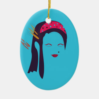 Design Geisha on blue Ceramic Ornament