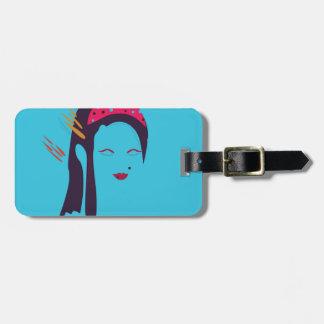 Design Geisha on blue Luggage Tag