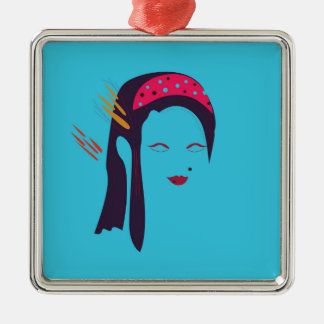 Design Geisha on blue Metal Ornament