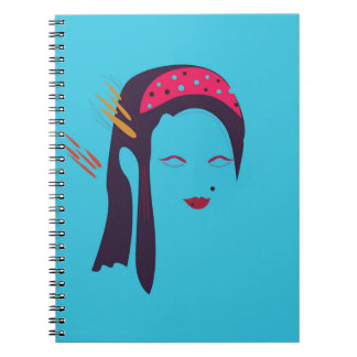 Design Geisha on blue Notebook