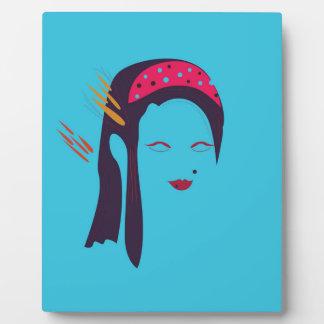 Design Geisha on blue Plaque