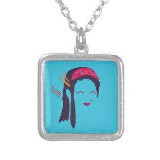 Design Geisha on blue Silver Plated Necklace
