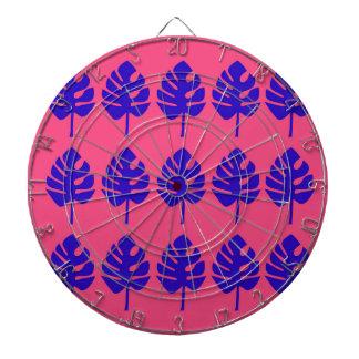 Design leaves blue pink exotic dartboard