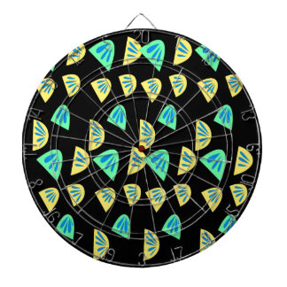 Design lemons on black dartboard