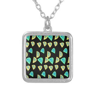 Design lemons on black silver plated necklace