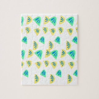 Design lemons on white jigsaw puzzle