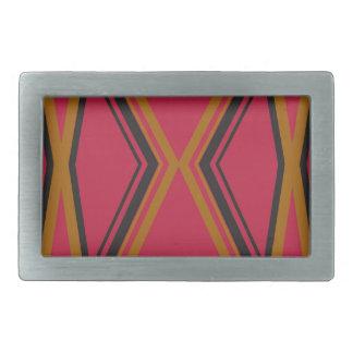 Design lines ethno chocolate rectangular belt buckles