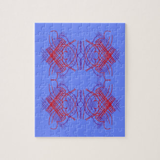 Design mandala blue  red jigsaw puzzle