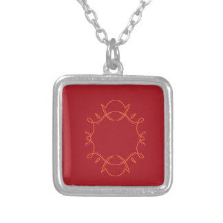 Design mandala on red silver plated necklace