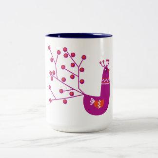 Design mug with purple Peacock