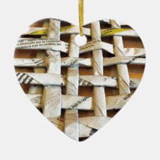 Design Newspaper Basket Ceramic Heart Ornament
