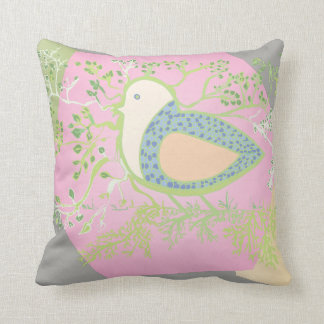 Design of a bird surrounded by tree with branches throw pillow