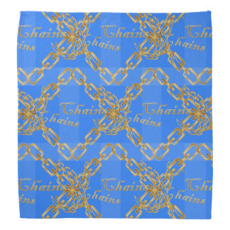 Design of Gold Chains on Blue Bandana
