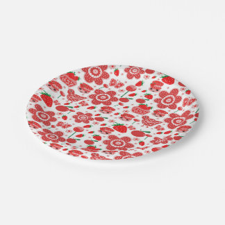 design of strawberries and cakes 7 inch paper plate